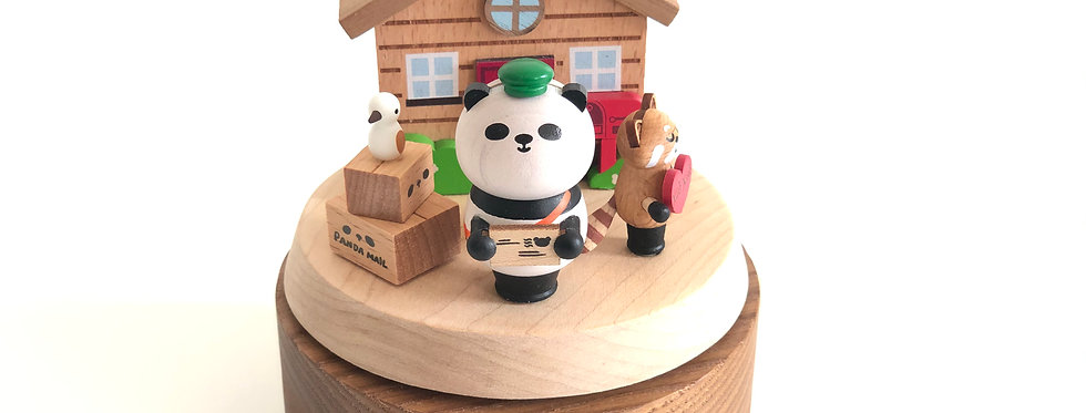 panda, mailman, delivery, love, thank you, kitty, heart, house, wooden, music boxes, rotation, red, sankyo,  bird, envelope,