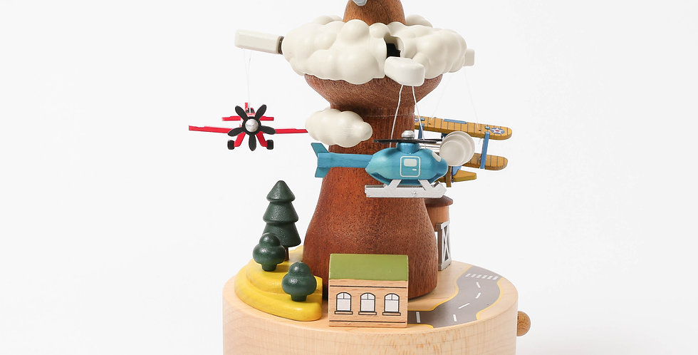 propeller, planes, flying, rotation, wooden, music boxes, red, blue, green, clouds, jets, trees, railway, sankyo, up and down