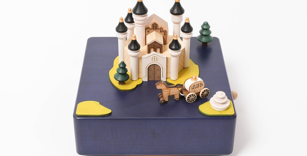 Fairytale Castle Wooden Music Box w Moving Carriage
