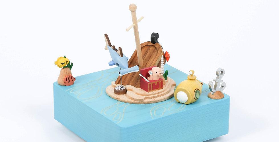 Blue, sea, underwater, submarine, treasure, hunt, jewelry, fish, squid, shark, boat, rotation, hidden rail, sankyo, music box
