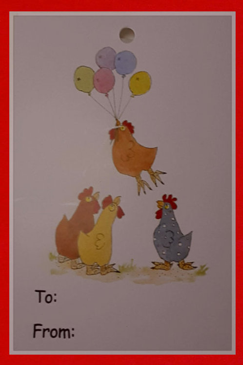 Chicken Balloon Tag Pack of 6