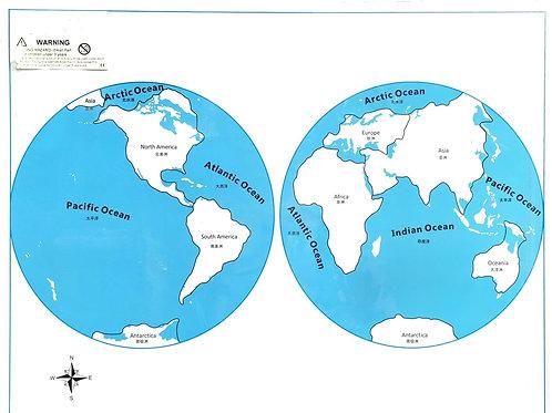 Carte de contrôle / planisphère monde