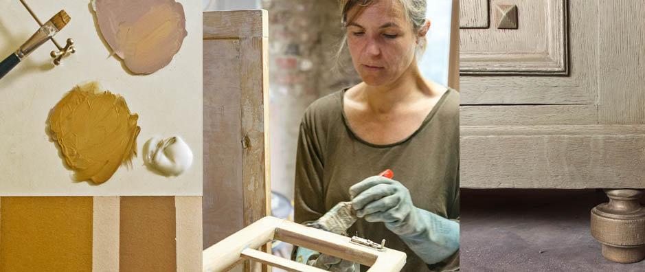Décapage Peinture sur bois dorure cadeau service artisanal upcyclé relooké IngridBaudoin Atelier Buissonville Rochefort