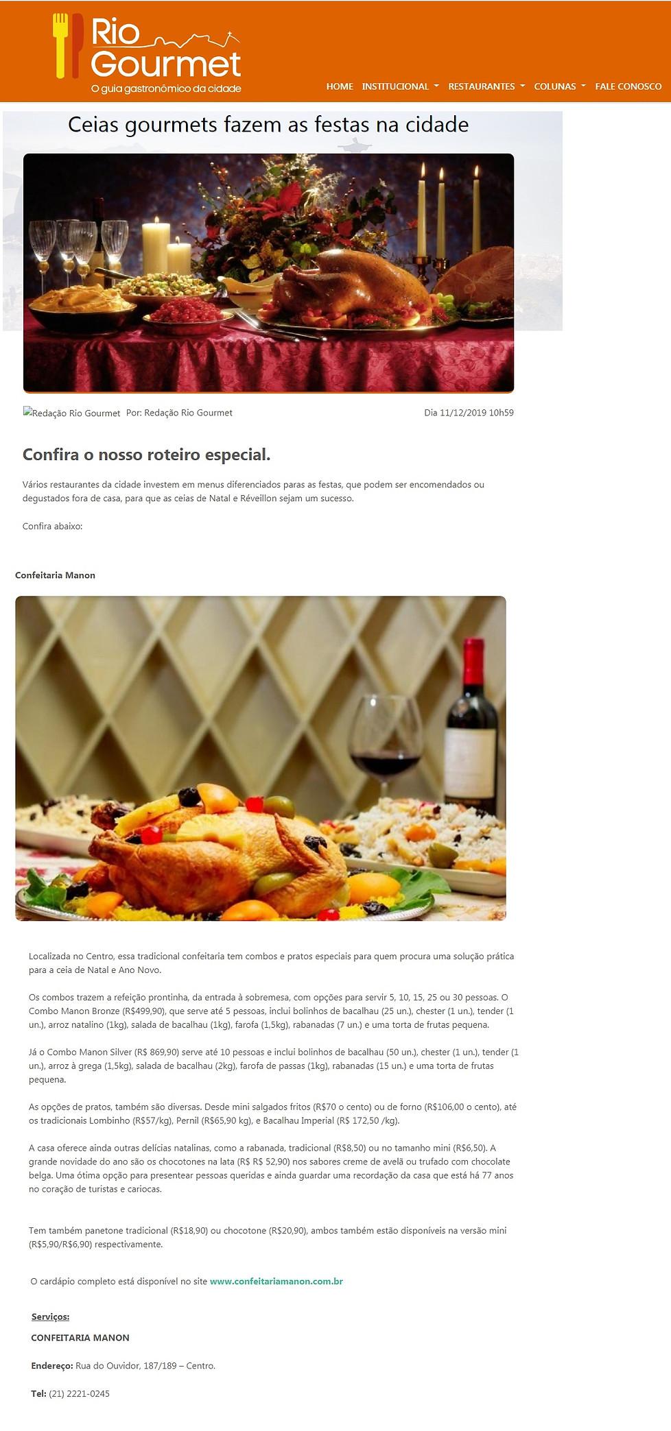 Manon Revista Rio Gourmet dezembro de 20