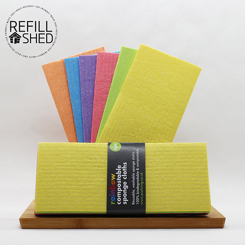 Rainbow Compostable Sponge Cloths Pack of 6