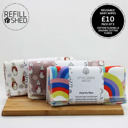 Reusable Baby Wipes - pack of 5