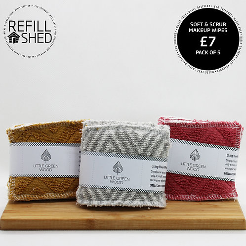 Soft & Scrub Makeup Wipes - pack of 5