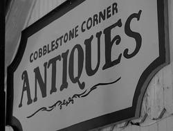Cobblestone Corner Antiques sign