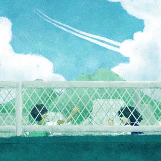 ボタ山と飛行機雲