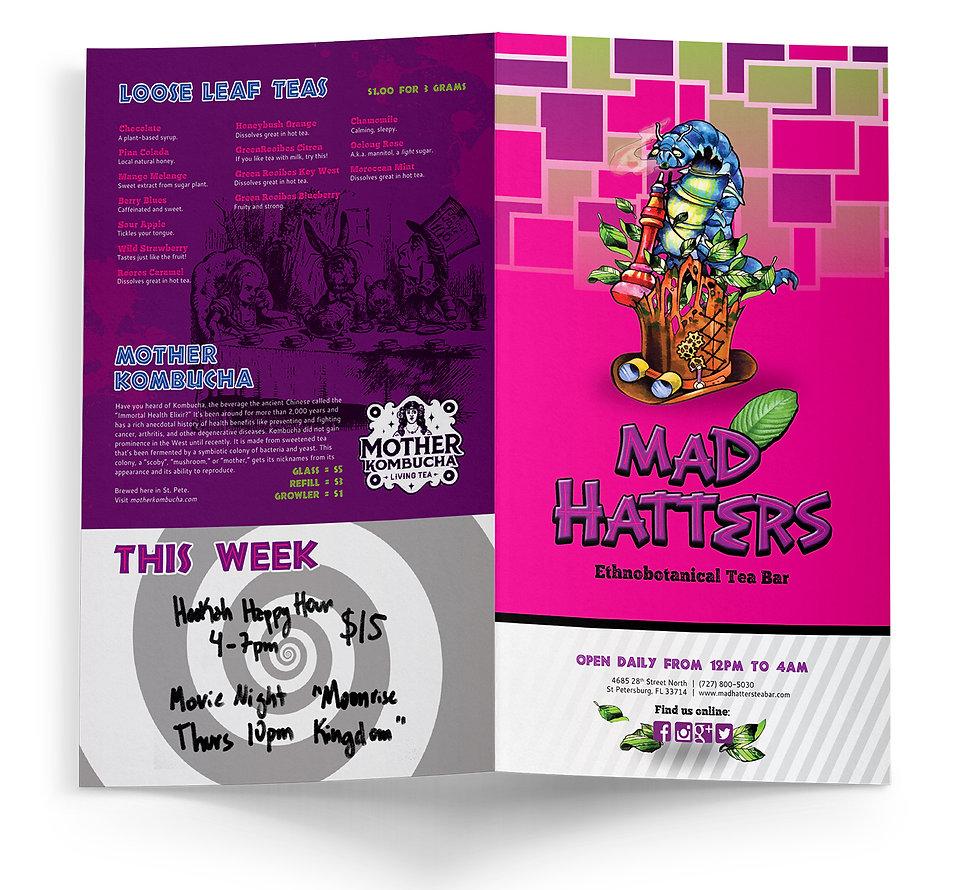 Mad Hatter's Tea Bar Concept menu booklet