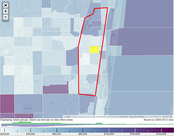 Income Map of Atlantic Ave Delray beach