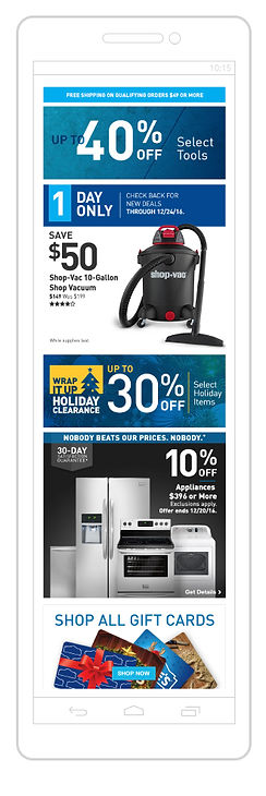 Lowe's Mobile Web holiday sample