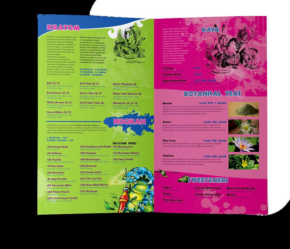 Mad Hatter's Tea Bar Concept menu booklet inside