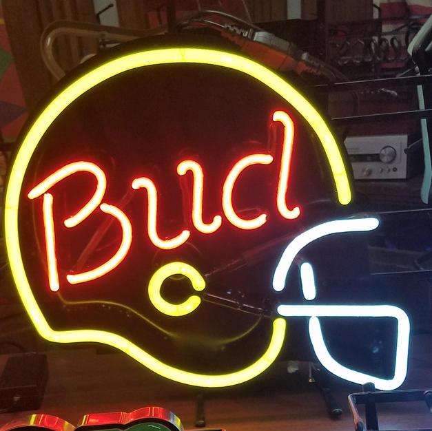 Bud beer helmet neon sign