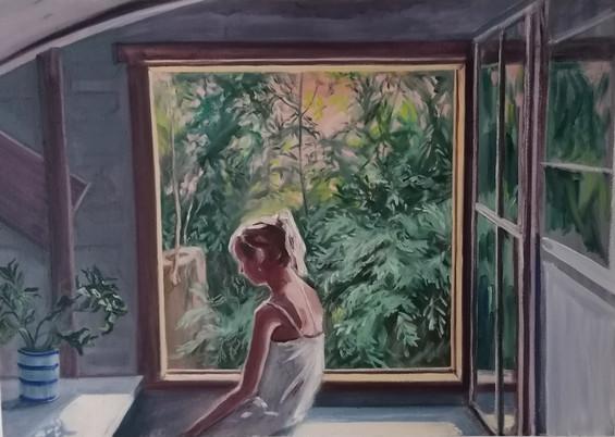 Figure by Window, 2020, Oil on Canvas, 60cm x 84cm