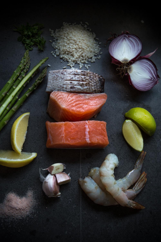 Salmon, risotto, catering prep