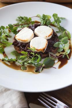 caramelised onion, goats feta tarfines,