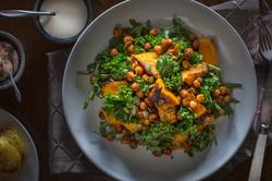 Pumpkin, Spiced chick pea, Kale , Salad,