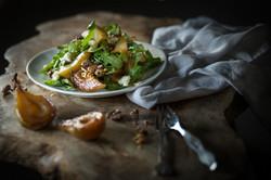 roasted pears, rocket, walnut, blue chee