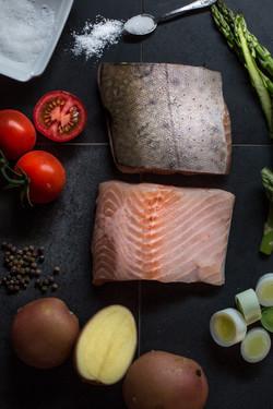 Ocean trout, leeks, aspragus, potatoes,