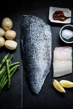 Blue Cod, spiced potatoes, green beans,