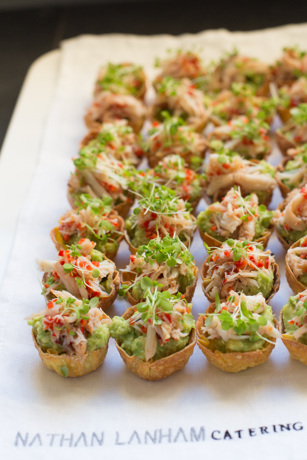 Crab, Avocado, chilli, lime cups, canapé