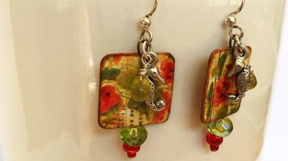 Floral Paper Print Earrings With Seahorse Charms