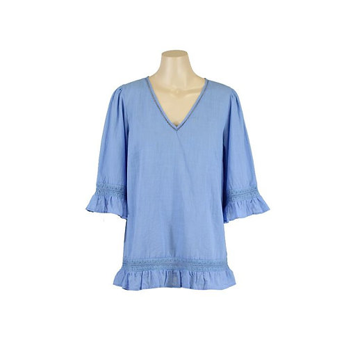 Resort Frill Sleeve Top / Ocean