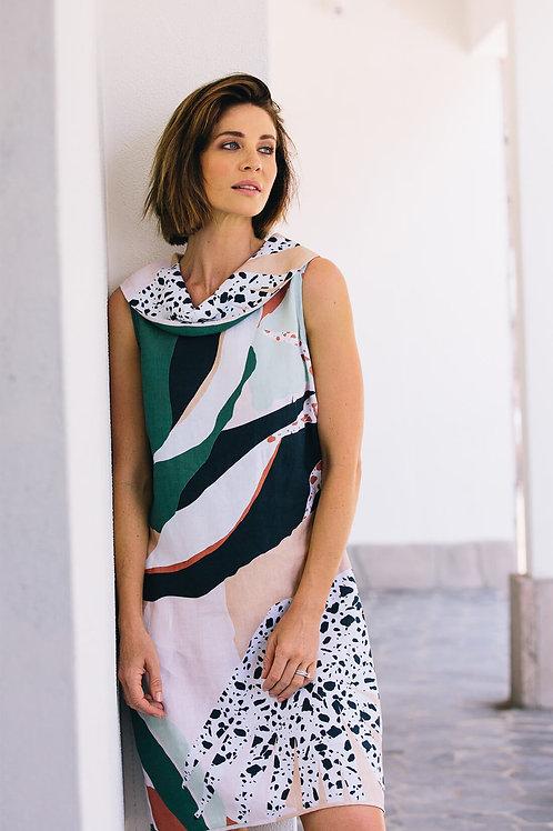 See Saw / Art Decor Cowl Neck Linen Dress