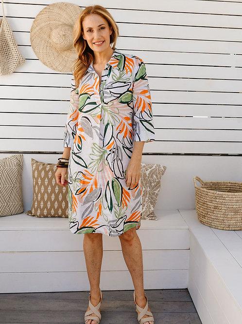 Goondiwindi 100% Linen Shirtmaker Dress / Abstract Leaf Print