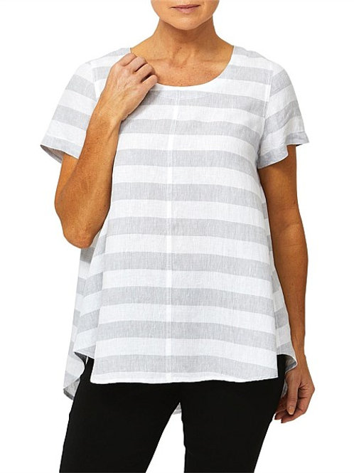 Ping Pong Sleeve Stripe Linen Top