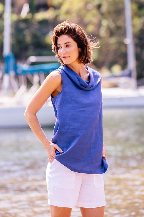 See Saw / Cowl Neck Top / Blue