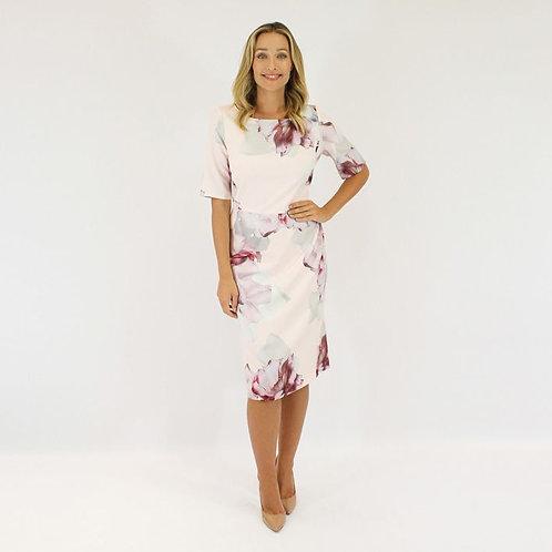Jendi Floral Print Dress with Sleeves / Blush Pink