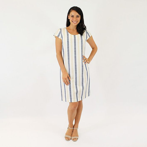 Jendi Linen Stripe Dress / Cream & Blue