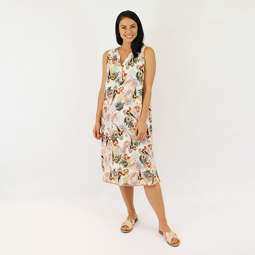 Resort Tropical Print Sleeveless Dress