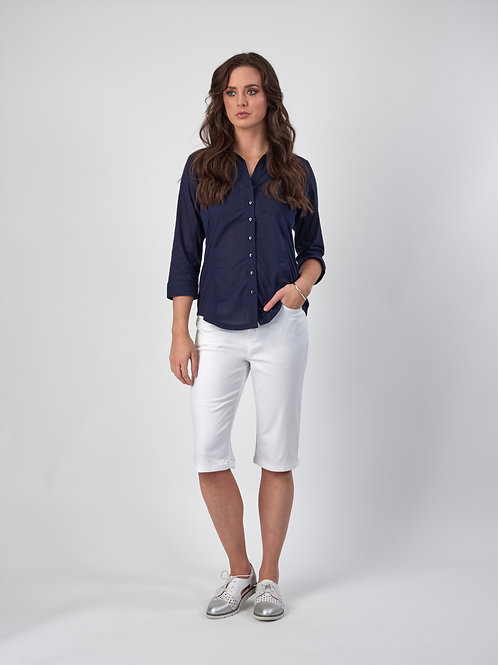 Vassalli Button Up Shirt with Rib Panels / Navy