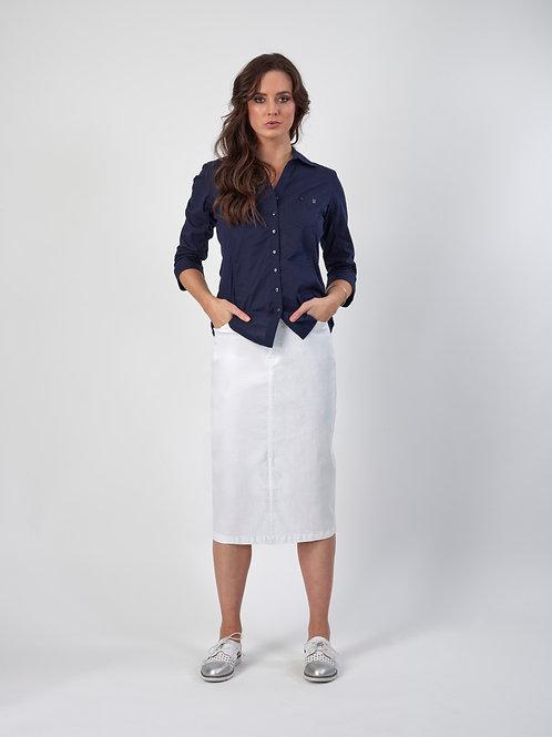Vassalli Longer Denim Skirt with Front Split / White
