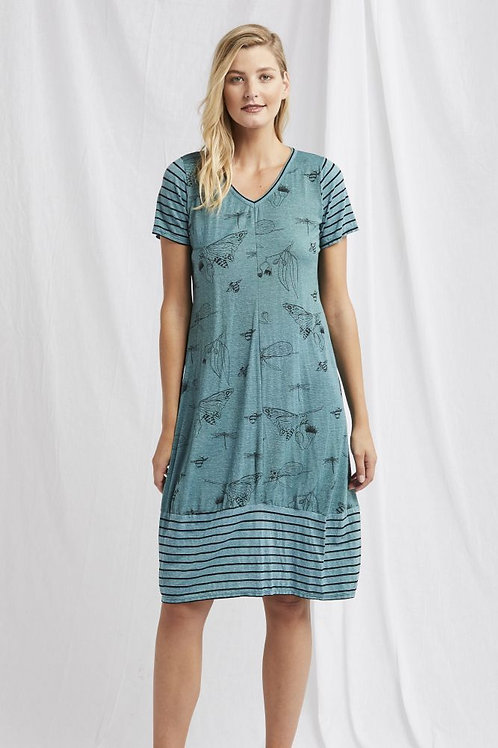 Valia Bumble Dress / Cactus & Black Print