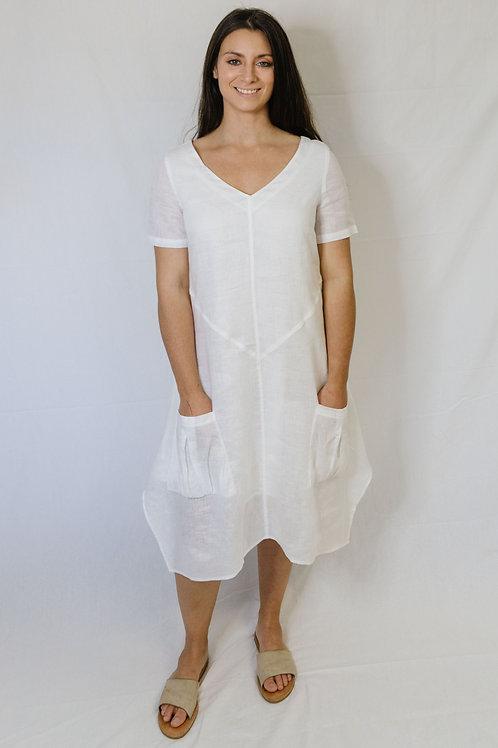 Goondiwindi Linen Dress / White