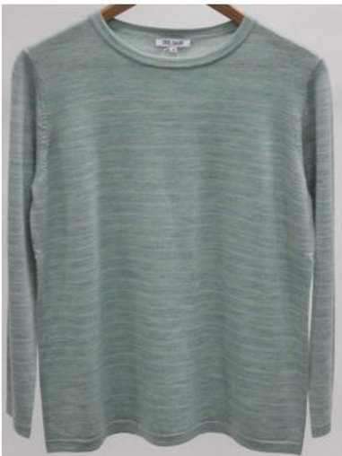 See Saw / Merino Round Neck Stripe Sweater / Mint Marble