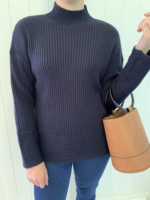 Goondiwindi Cotton / Turtle Neck Sweater / Navy