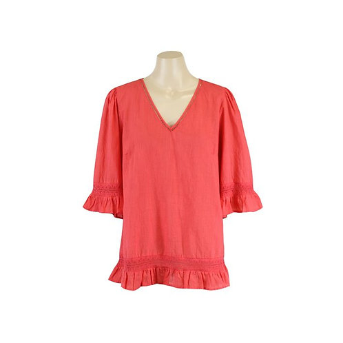 Resort Frill Sleeve Top / Coral