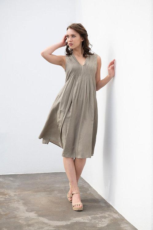 Orientique Linen Pleated Dress w Pockets / Olive
