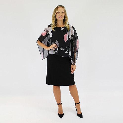 Jendi Dress with Cape / Floral