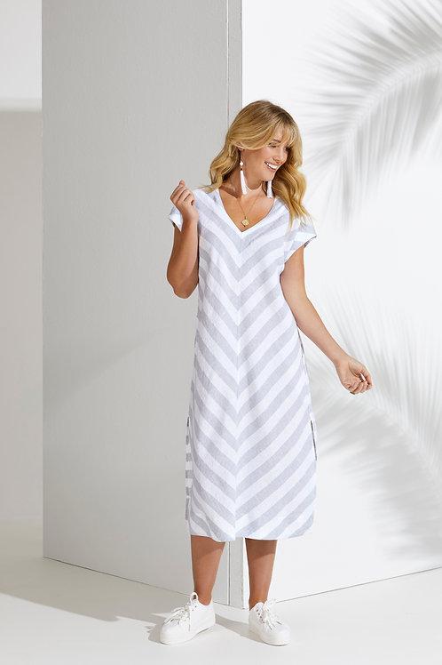 Ping Pong Drop Shoulder Stripe Linen Dress