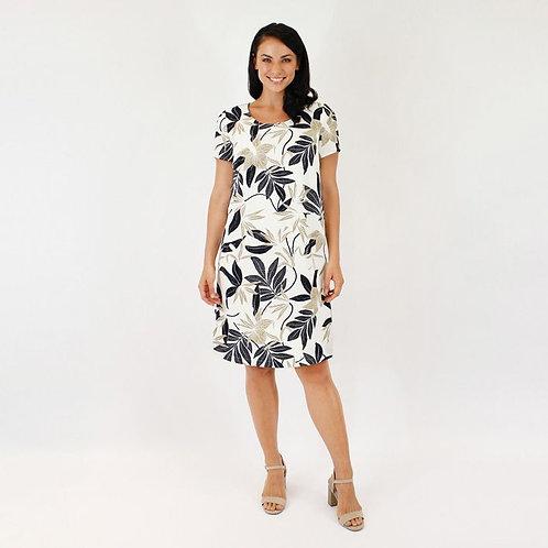 Jendi Native Leaf Print Dress