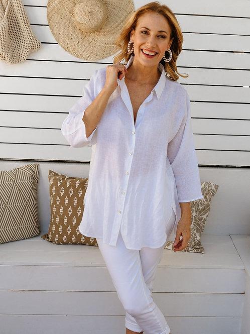 Goondiwindi Linen 3/4 Sleeve Shirt / White