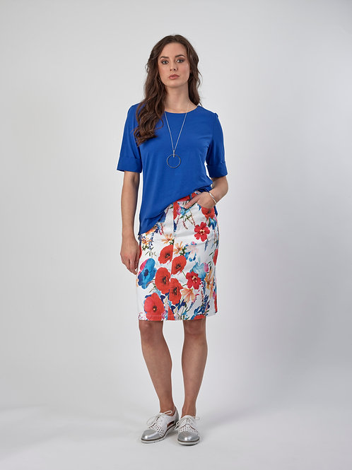 Vassalli Printed Lightweight Skirt with Centre Back Vent / Valentine