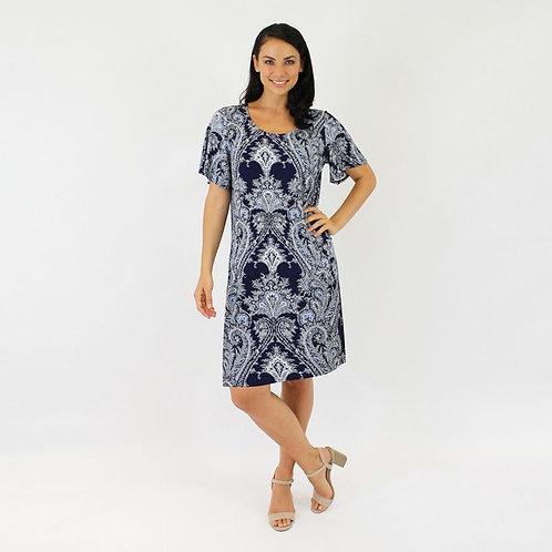 Jendi Paisley Print Dress / Navy