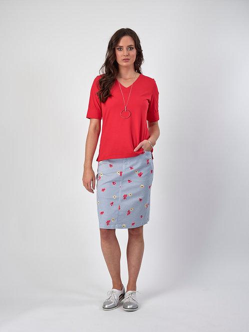 Vassalli Printed Lightweight Skirt with Centre Back Vent / Bonnie